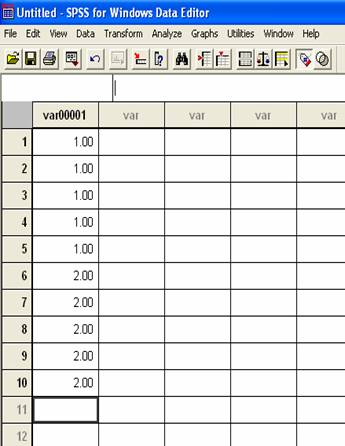 How do I enter data into SPSS for an independent samples T-test?